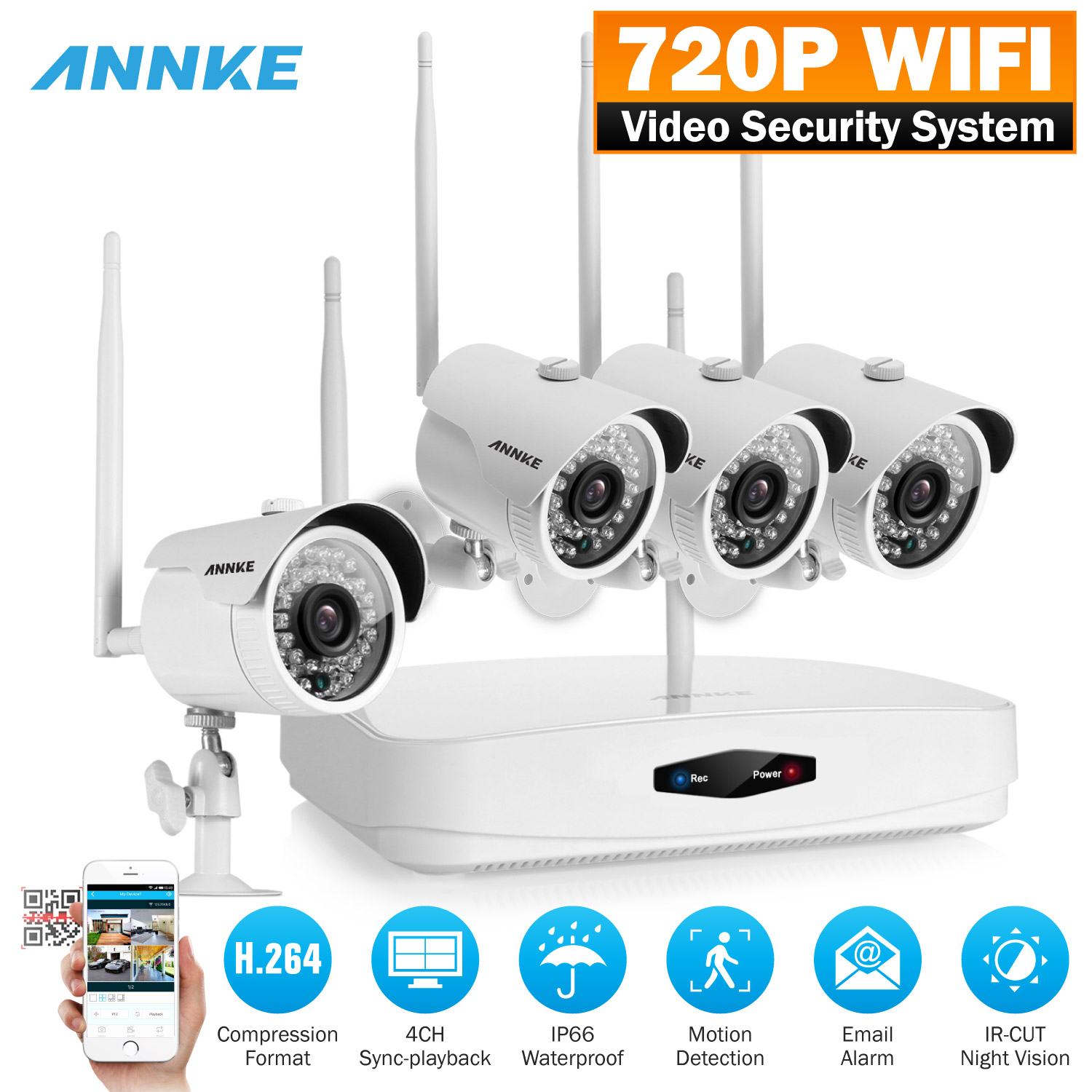 Annke 720p HD Wireless NVR System and (4) 1.0 Megapixel Surveillance IP Network Security Cameras with Super Night Vision, Motion Detetion and Remote Playback With No Hard Drive Disk