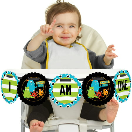 Monster Bash - I Am One - Little Monster First Birthday High Chair Birthday Banner