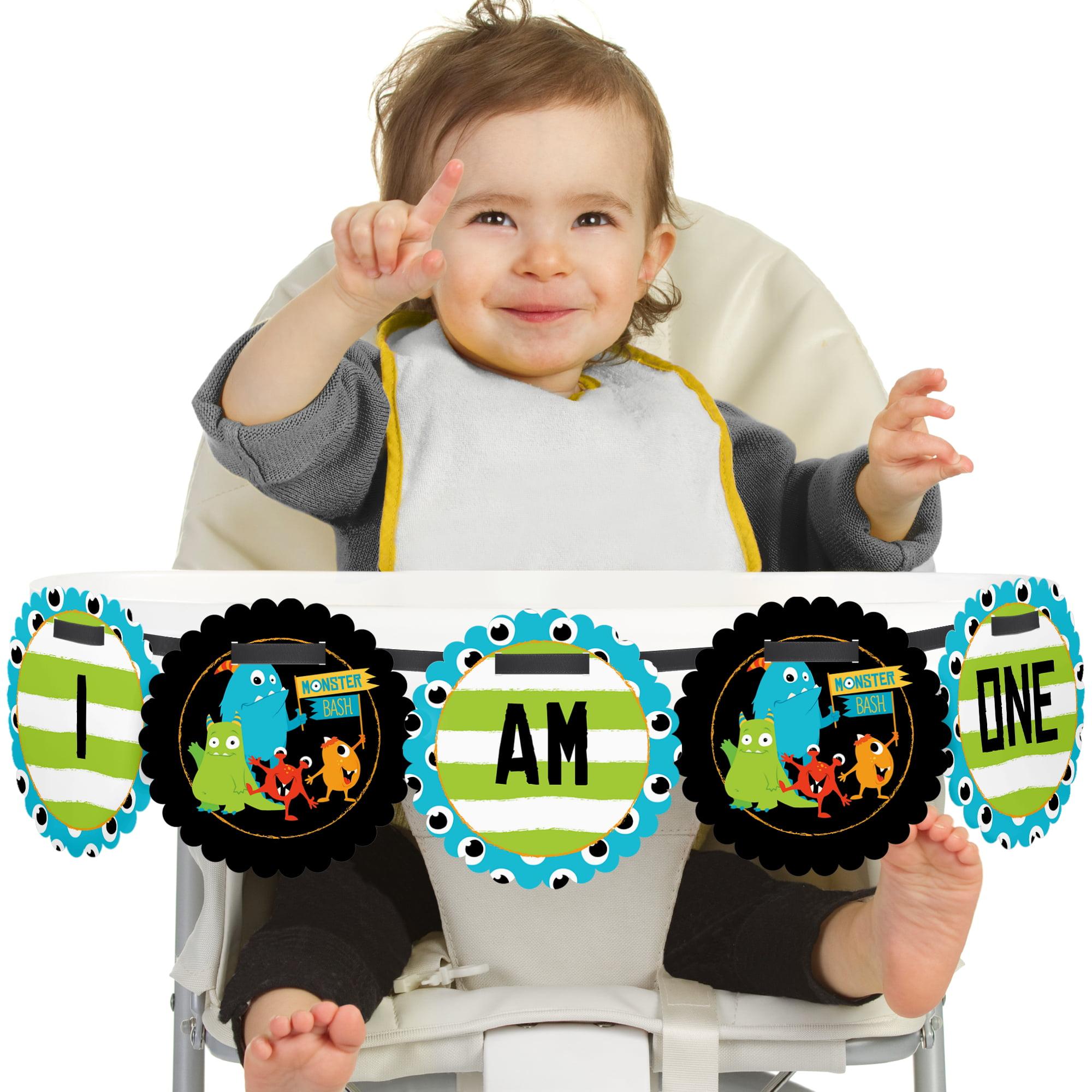 Monster Bash - I Am One - Little Monster First Birthday High Chair Birthday Banner