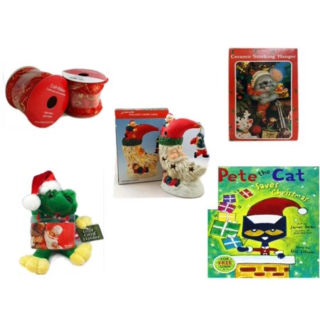 Christmas Fun Gift Bundle [5 Piece] - 2 Rolls Red and Gold Craft Ribbon 2.5 in. x 9 ft. - Vintage Designed Stocking Hanger Mouse - A Treasury of Gifts