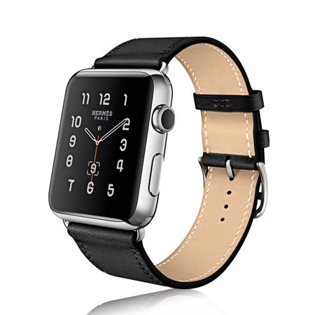 Mignova Compatible Apple Watch Band 38mm 40mm, Top Grain Leather Strap for Apple iWatch Series 4,Series 3,Series 2,Series 1,Sport, Edition (Black) ()