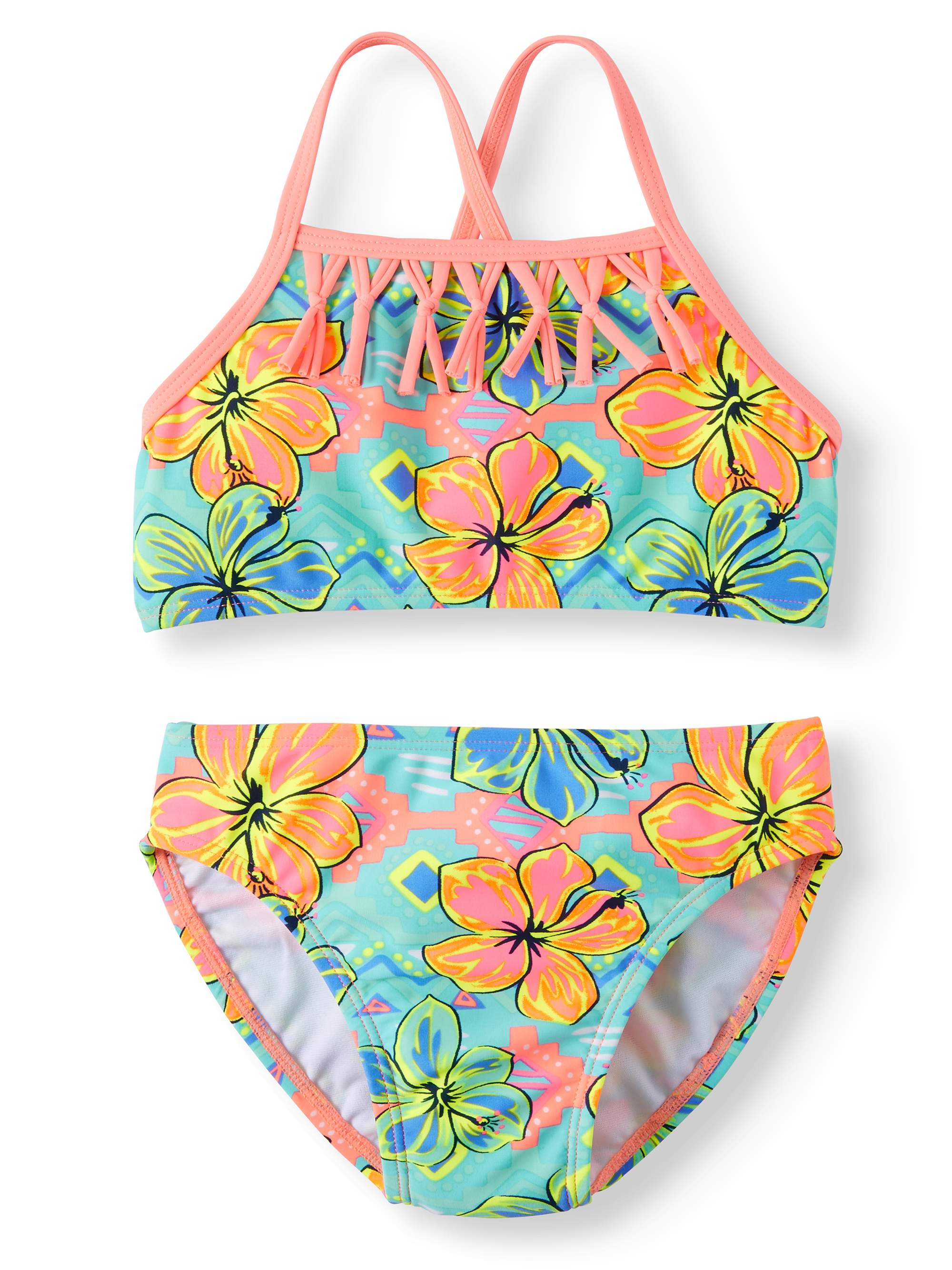 Hibiscus Power Fringe Bikini Swimsuit (Little Girls & Big Girls)