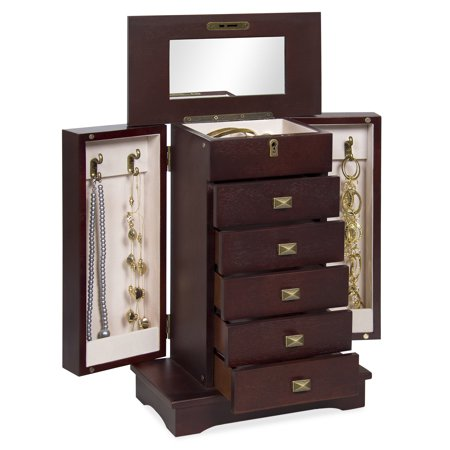 Best Choice Products Handcrafted Wooden Jewelry Box Organizer Wood Armoire Cabinet (Handcrafted Wooden Jewelry Boxes)