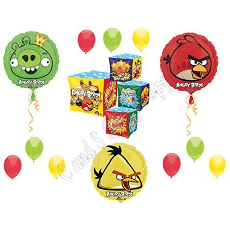 Angry Birds Cubez Pig, Red & Yellow Bird Birthday Party Balloons Decorations - Angry Birds Party Ideas