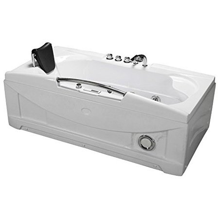 - 66 Inch White Bathtub Whirlpool Jetted SPA Hot Tub 19 Massage Air Jets Shower Wand, In-line Heater, Thermostatic Faucet, Bluetooth Control FM Radio, Ozonator, 30 Amp Model SD-001A White