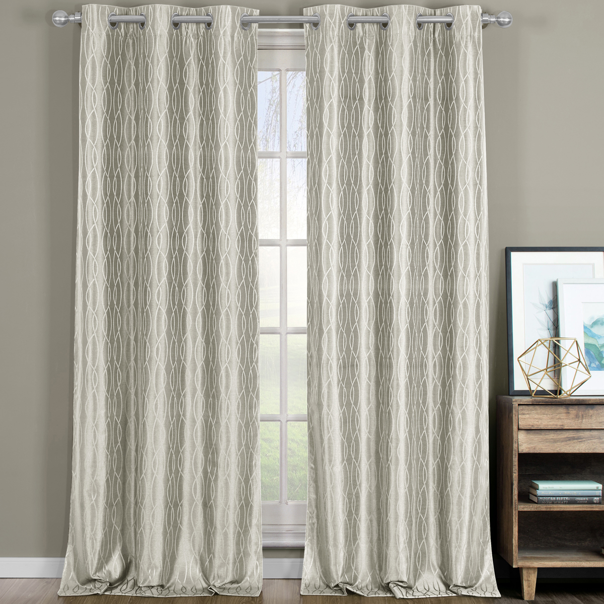 Pair Voyage Jacquard Thermal Blackout Curtain Panels With Grommets (Set of 2)76X84 - Teal