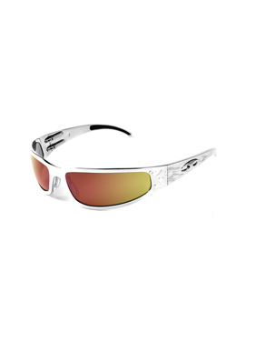 ICICLES Baby Bagger Orange Mirror Lens Sunglasses with Silver Flames Frame