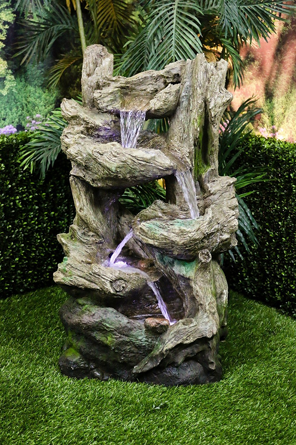 Alpine Five Tier Rain Forest Fountain with LED Lights, 38 Inch Tall by Alpine Corporation