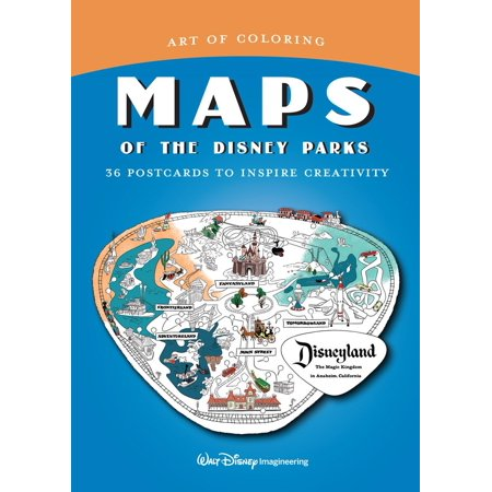 Art of Coloring: Maps of the Disney Parks : 36 Postcards to Inspire (Map Postcard)