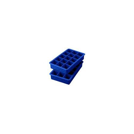 Tovolo Perfect Cube Silicone Ice Trays Set of 2, Stratus Blue