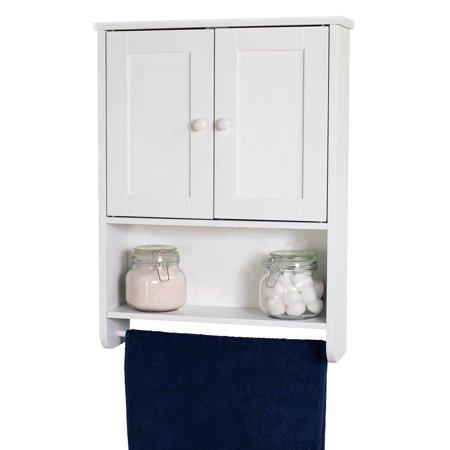 Bathroom Medicine Cabinet 2-Door Bathroom Wall Cabinet Wood Hanging Cabinet with Shelves and Towel Bar