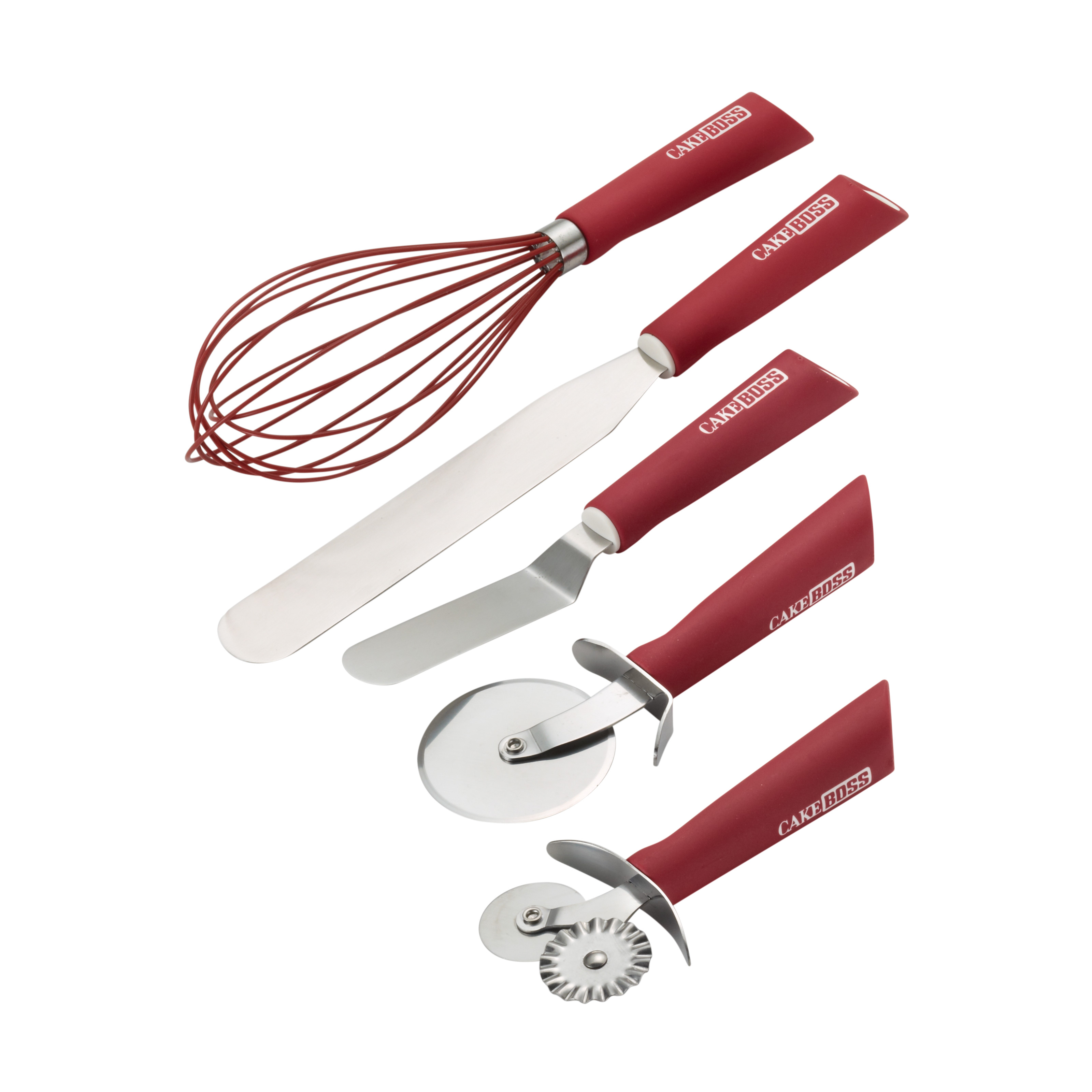 Cake Boss Stainless Steel Tools and Gadgets 5-Piece Baking and Decorating Tool Set, Red