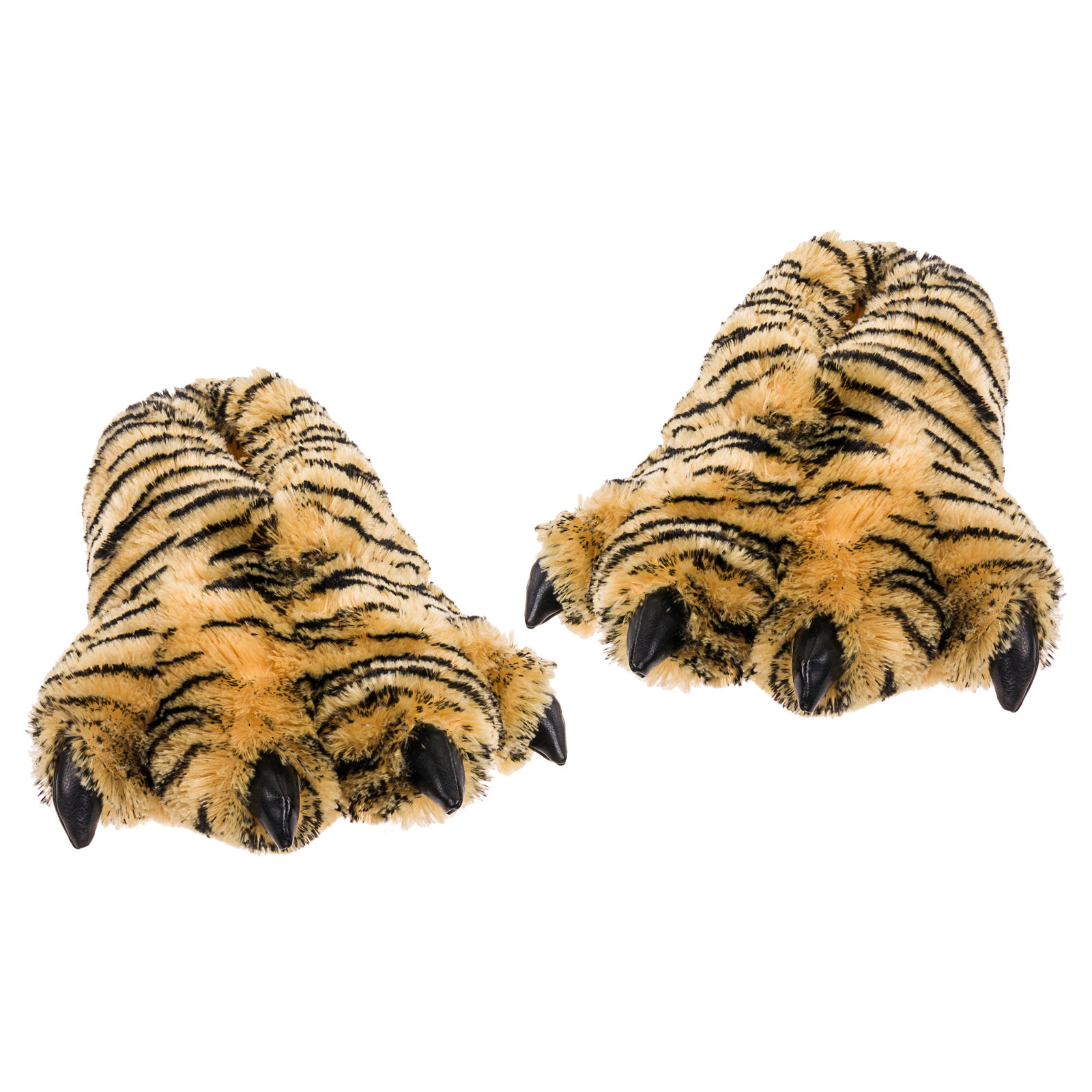 Wishpets Medium Size Unisex 5-9.5 Brown Tiger Animal Paw Plush Fuzzy Slippers