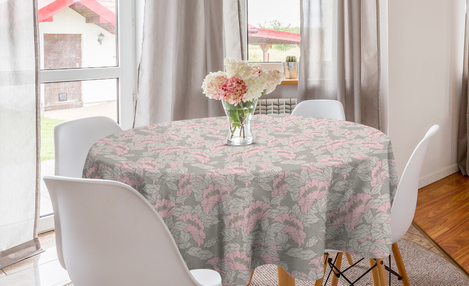 Floral Round Tablecloth Sketch Of Repetitive Colored Poppy Flowers With Greyscale Leaves Art Print Circle Table Cloth Cover For Dining Room Kitchen Decor 60 Pale Taupe And Rose By Ambesonne Walmart Com