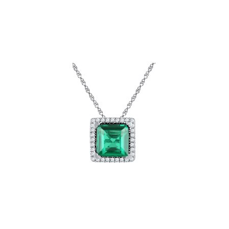 10kt White Gold Womens Princess Lab-Created Emerald Square Pendant 1-3/4 Cttw Lab Square Pendant