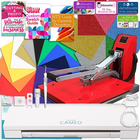 Hematite Cameo - Silhouette Cameo 3 Bluetooth Heat Press T-Shirt Business Bundle with Heat Press, Guides and More