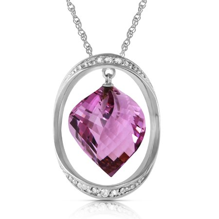 Briolette Natural (ALARRI 14K Solid White Gold Necklace w/ Natural Twisted Briolette Amethyst & Diamonds with 22 Inch Chain Length. )
