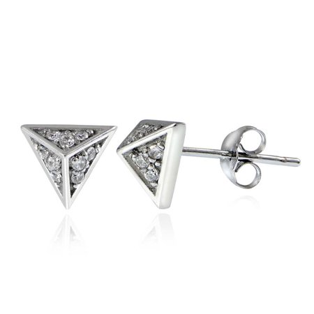 STERLING SILVER CZ PYRAMID STUD EARRINGS