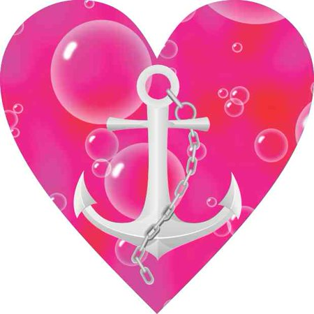 Anchor Heart (4in x 4in Pink and Red Anchor Heart Bumper Sticker Car Vinyl Truck)