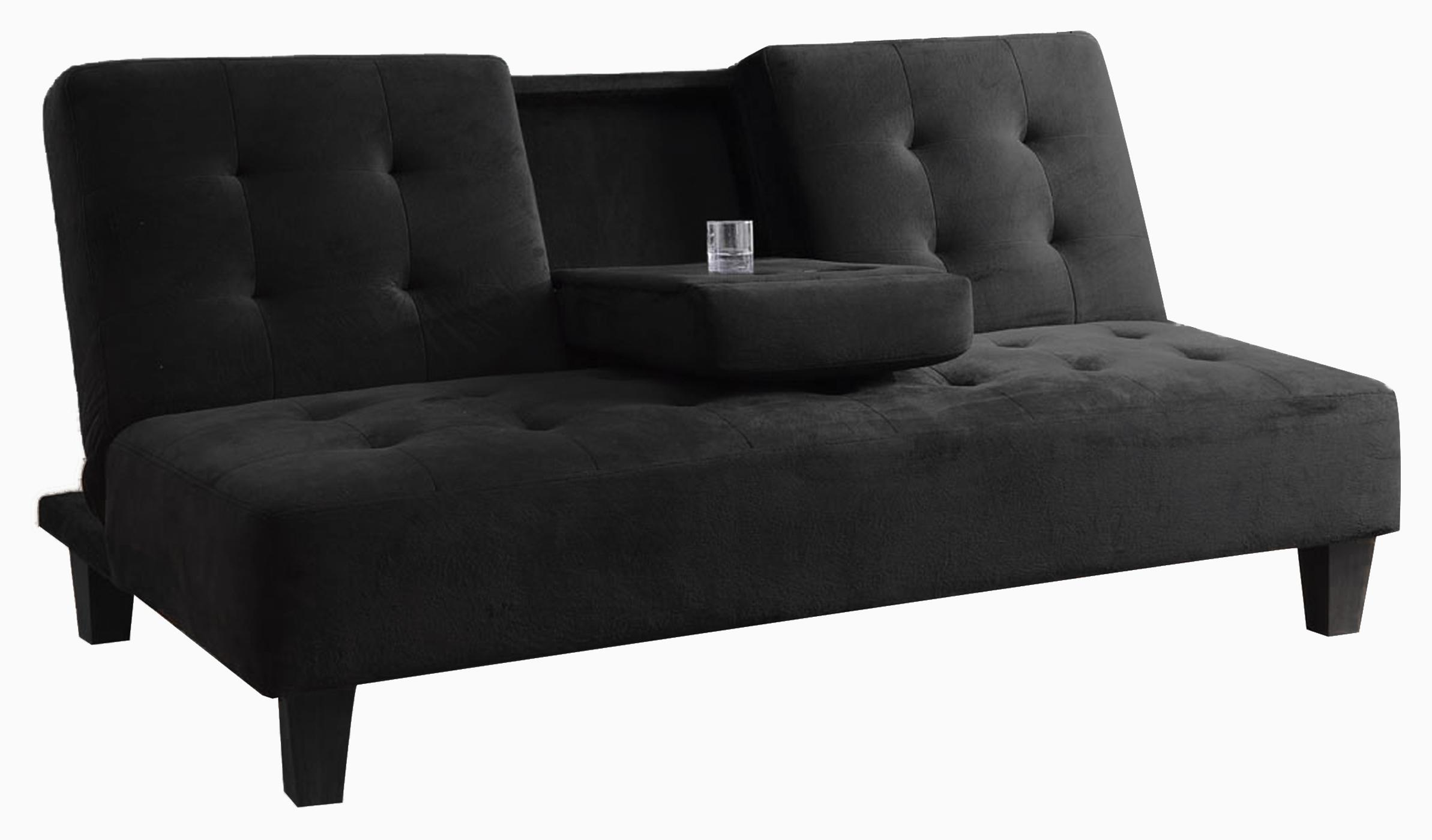 Madrid Futon Sofa Bed With Cup Holder In Black Com