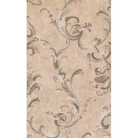 DAMASK - Traditional Unpasted Color Beige Wallpaper Sample - image 1 de 1