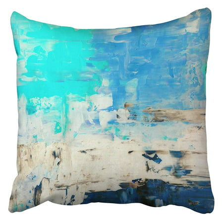 Blue Pillow Cover - CMFUN Beige Modern Turquoise and Blue Abstract Painting Brown Contemporary Canvas White Cyan Pillowcase Cushion Cover 20x20 inch