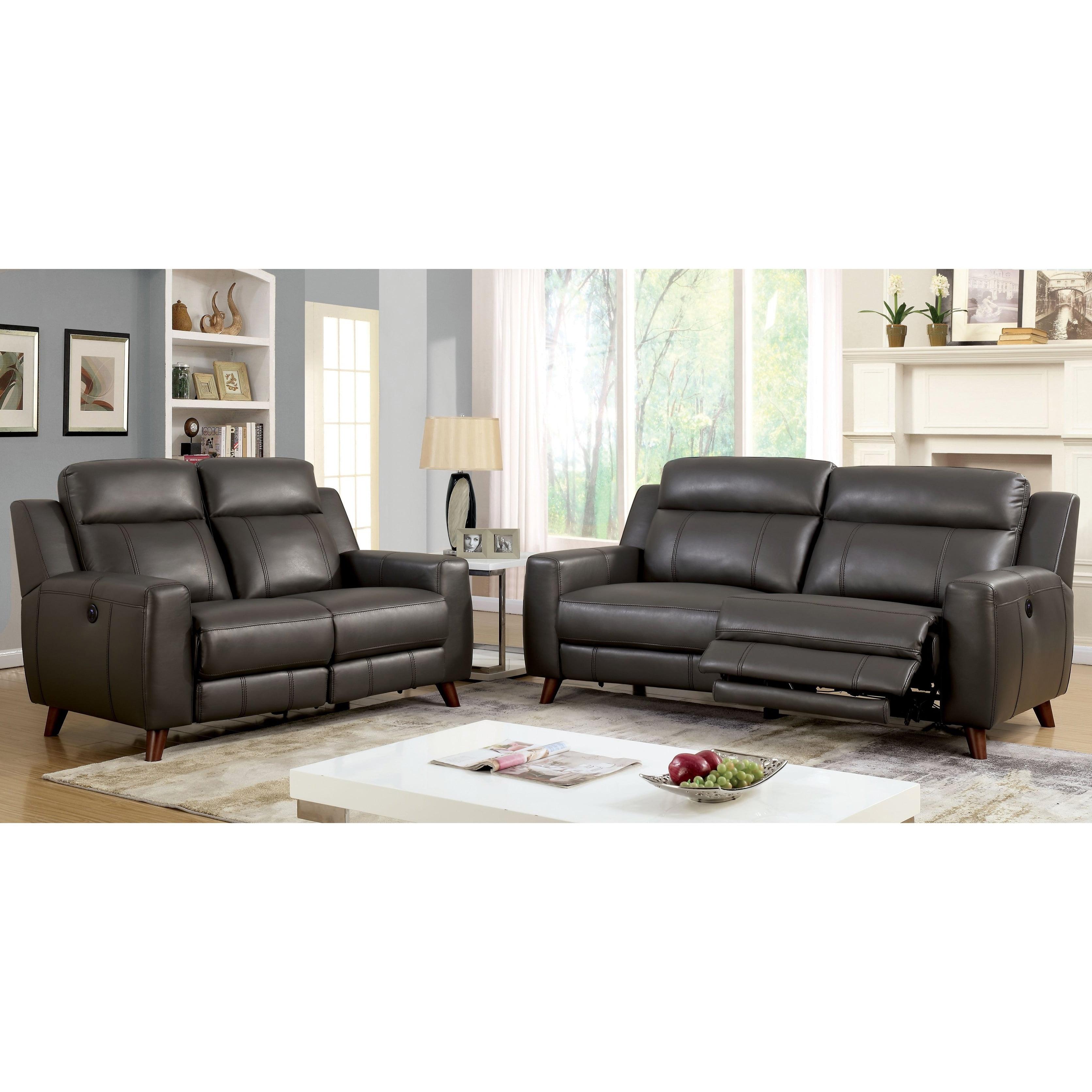 Furniture of America Zass Contemporary Grey 2-piece Reclining Sofa