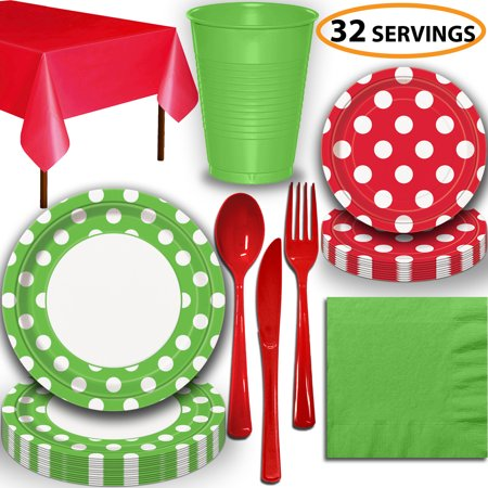Disposable Tableware, 32 Sets - Lime Green and Ruby Red Dots - Dinner Plates, Dessert Plates, Cups, Lunch Napkins, Cutlery, and Tablecloths:  Party Supplies Set ()