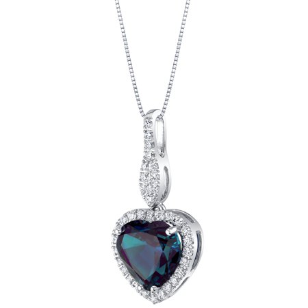 Alexandrite Lab - 14K White Gold Created Alexandrite and Lab Grown Diamond Pendant 4.86 carats total Heart Shape