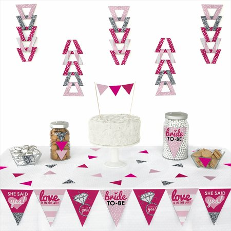 Bride-To-Be - Triangle Bridal Shower & Classy Bachelorette Party Decoration Kit - 72 - Classy Bachelorette Party Decorations