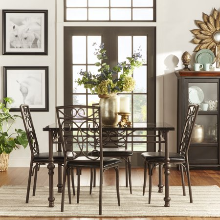 Chamberly Faux Marble Top 5 Piece Dining Set