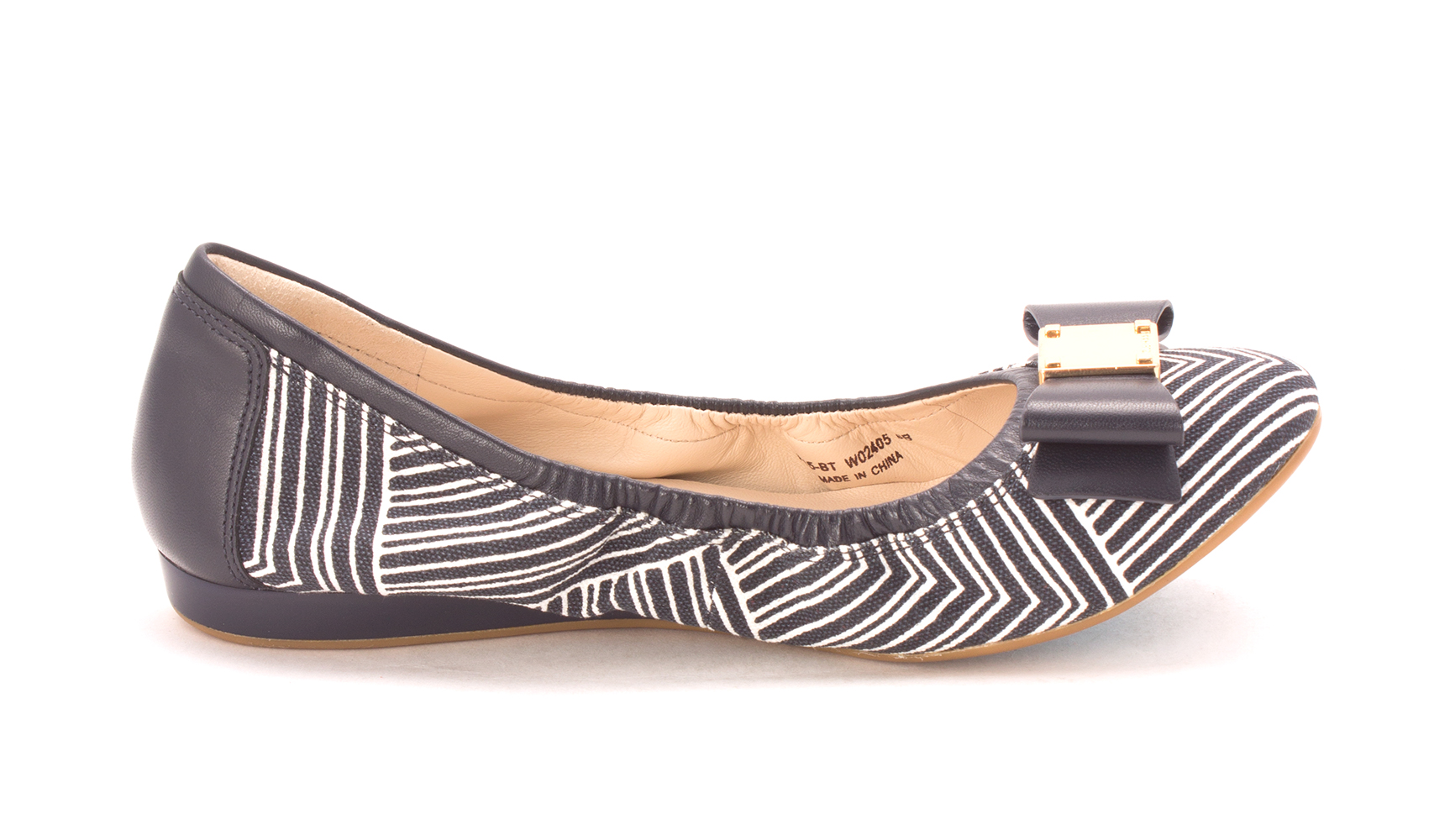 Cole Haan Womens CH1825S-2 Closed Toe Ballet Flats, Ink/Optic White, Size 6.0