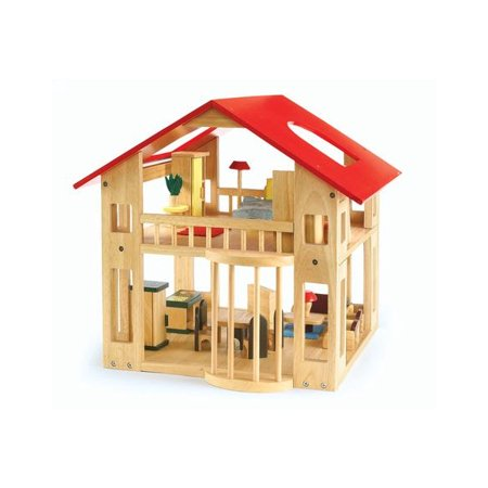 Excellerations Wooden Deluxe Dollhouse - 28 Pieces (Item #