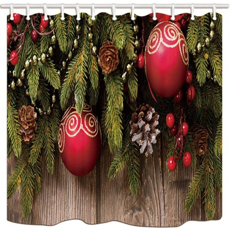 BPBOP Christmas Red Ball Natsugae Pine Cone Wooden Background Polyester Fabric Bathroom Shower Curtain 66x72 inches (Pine Cone Fabric Shower Curtain)