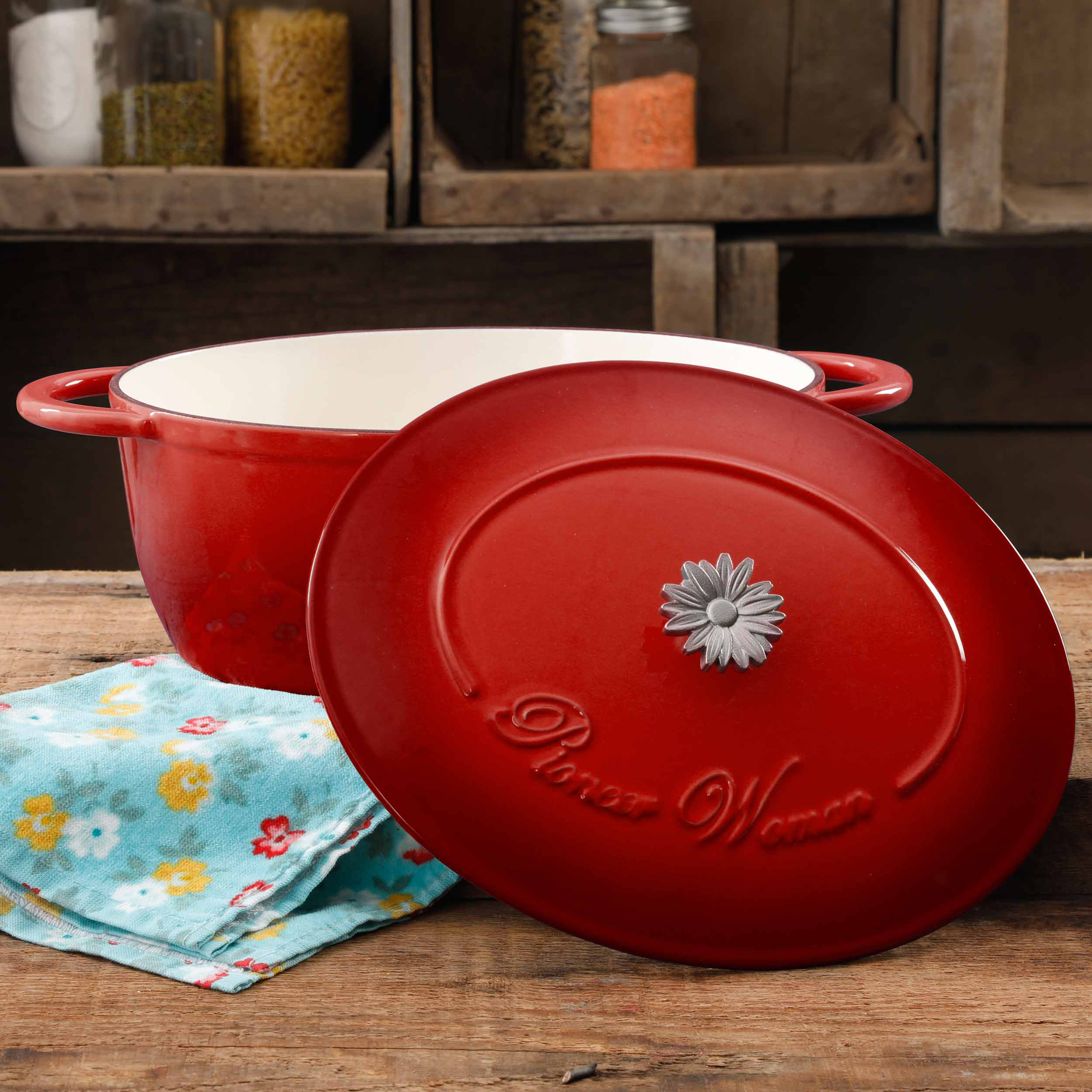 The Pioneer Woman Timeless Beauty 7-Quart Dutch Oven with Daisy and Bakelite Knob by Gibson Overseas Inc.