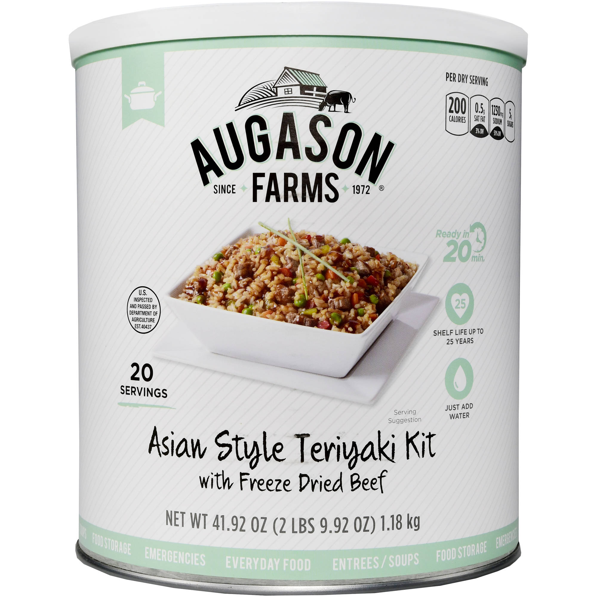 Augason Farms Emergency Food Asian Style Teriyaki with Freeze Dried Beef Meal Kit, 41.92 oz by Generic