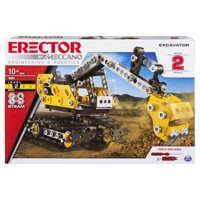 Erector by Meccano, 2-in-1 Excavator and Bulldozer Model Set, STEM Engineering Education Toy for Ages 10 and up