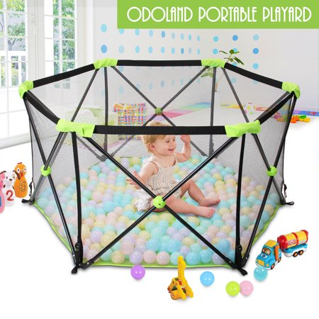 Odoland Portable Playard Play Pen for Infants and Babies - Lightweight Mesh Baby Playpen with Carrying Case - Easily Open with one Hand