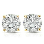 1ct Round Diamond Stud Earrings in 14K Yellow Gold with Screw Backs