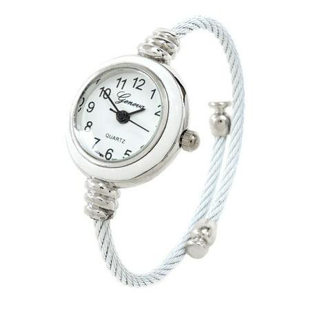 - White Silver Geneva Cable Band Women's Small Size Bangle Watch