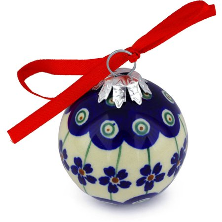 Polish Pottery 2½-inch Ornament Christmas Ball (Flowering Peacock Theme) Hand Painted in Boleslawiec, Poland + Certificate of Authenticity - Pottery Barn Halloween Decor