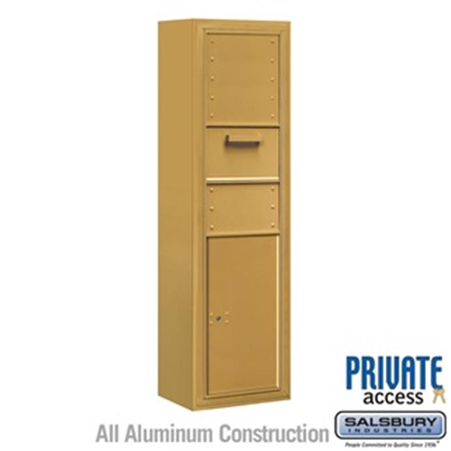 Salsbury 3815S-1CGF Single Column Surface Mounted 4C Horizontal Collection Box, Gold - Front Access