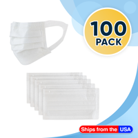 100 Disposable Face Masks White, 3-ply Breathable Masks, Soft Ear Loop Filter Mask