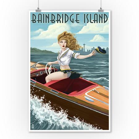 Bainbridge Paper Mat (Bainbridge Island, Washington - Pinup Girl Boating - Lantern Press Poster (9x12 Art Print, Wall Decor Travel Poster) )