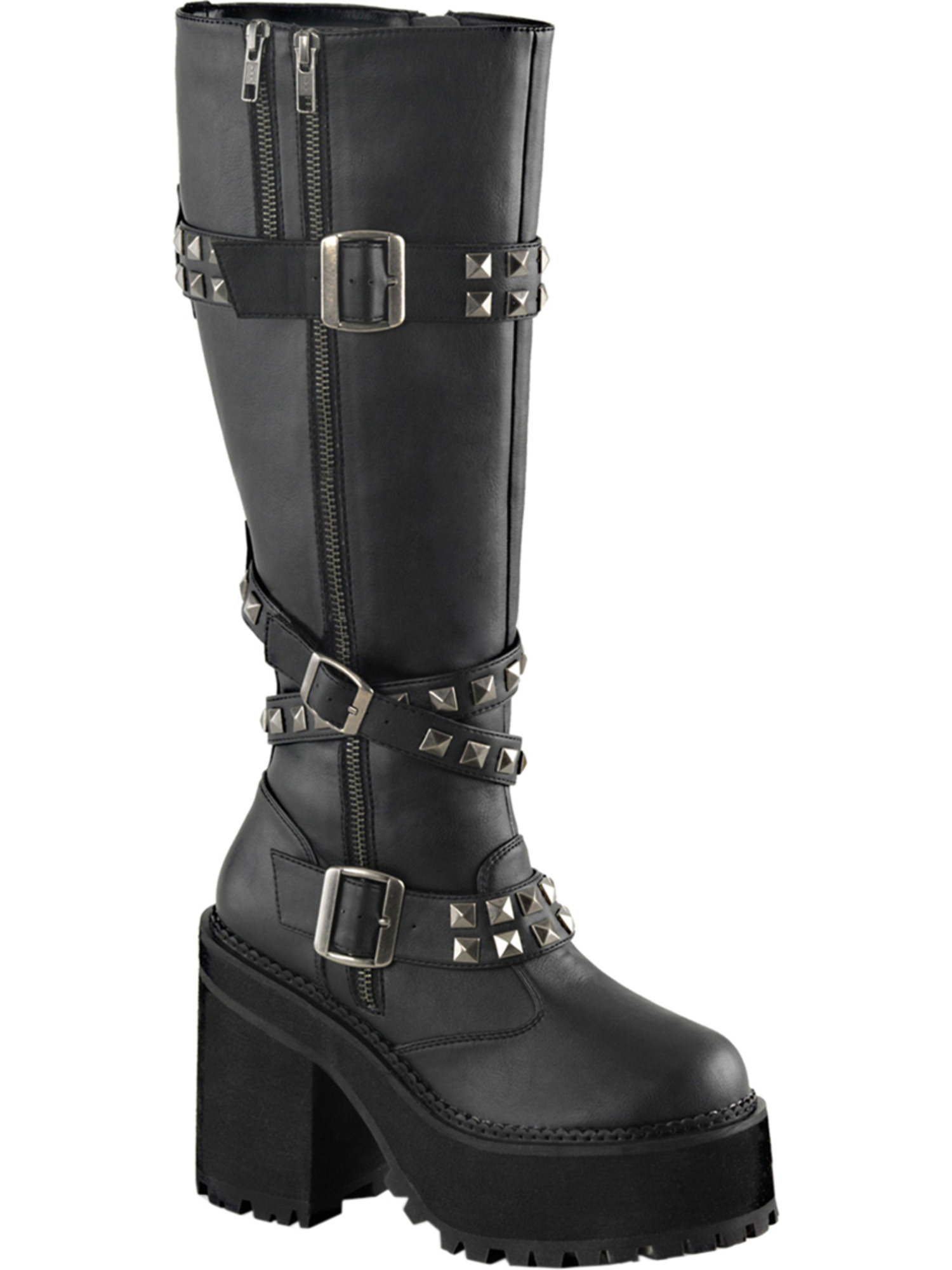 Womens Vegan Leather High Boots Black Platforms Knee High Leather Boots Studs 4 3/4 In Heel 9b79d3