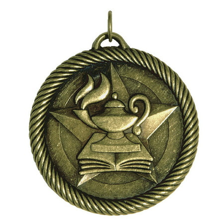 Hammond & Stephens Multi-Level Dovetail/Lamp of Knowledge Value Medal, 2 in, Solid Die Cast, Bronze ()
