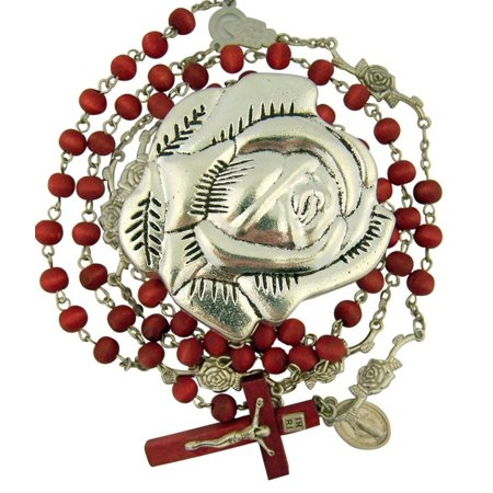 Rose Scented Wood Prayer Bead Rosary in Metal Rosebud Case, 24 1/4 Inch