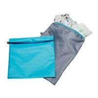 J.L. Childress Wet-to-Go Portable Wet and Dry Bags for Baby Diapers, Clothes or Swimsuits, 2-Pack, Teal/Grey