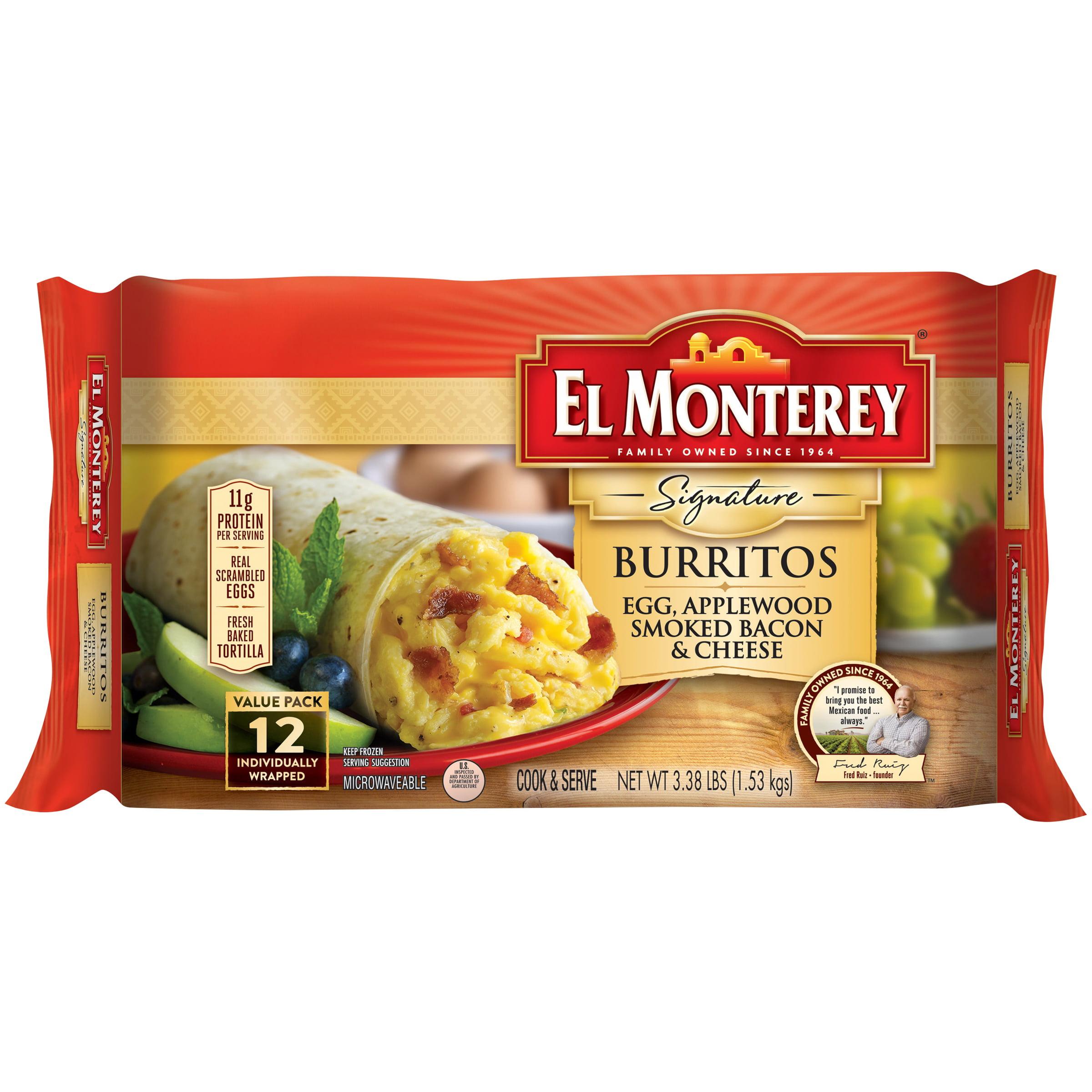 El Monterey® Signature Egg Applewood Smoked Bacon & Cheese Burritos 12 ct Bag