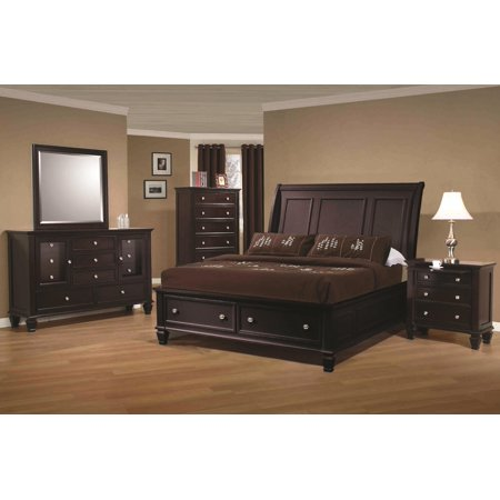 - Classic Sandy Beach Sleigh HB Queen Size Bed w Storage FB 4pc Set Cappuccino Finish Modern Dresser Mirror Nightstand